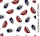blue eyes and red lips seamless ... | Shutterstock .eps vector #474772063