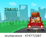 happy couple. car trip. young... | Shutterstock .eps vector #474772387