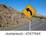 warning traffic sign on metal... | Shutterstock . vector #47477965