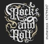 rock n roll grunge print ... | Shutterstock .eps vector #474794347