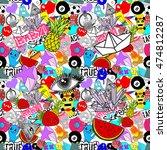 funny graffiti  vector seamless ... | Shutterstock .eps vector #474812287