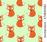 seamless pattern with fox | Shutterstock .eps vector #474830383