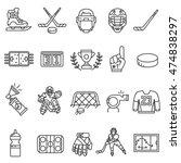 hockey icons set. thin line... | Shutterstock .eps vector #474838297