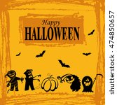 happy halloween message design... | Shutterstock .eps vector #474850657