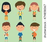 school boys and girls standing... | Shutterstock .eps vector #474858367