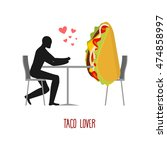lover taco. lovers in cafe. man ... | Shutterstock .eps vector #474858997