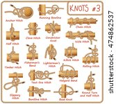 Set Of Rope Knots  Hitches ...