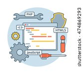 linear flat web application... | Shutterstock .eps vector #474869293