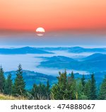Blue Misty Mountain Valley At...