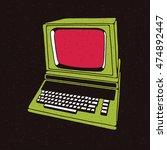 old personal computer. vector... | Shutterstock .eps vector #474892447