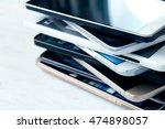 stack of high end smartphones... | Shutterstock . vector #474898057