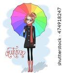 hand drawn beautiful cute girl...   Shutterstock .eps vector #474918247