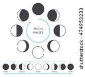 moon phases icons. astronomy... | Shutterstock .eps vector #474953233