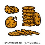 chocolate chips cookie vector... | Shutterstock .eps vector #474985513
