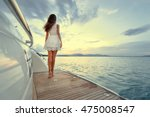 luxury travel on the yacht.... | Shutterstock . vector #475008547