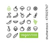 vector set of icons and... | Shutterstock .eps vector #475025767