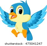 cute blue bird cartoon | Shutterstock .eps vector #475041247