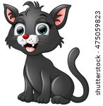 Stock photo black cat cartoon isolated on white background 475059823