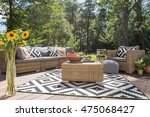 villa patio with stylish rattan ... | Shutterstock . vector #475068427