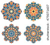 colorful mandalas in oriental... | Shutterstock .eps vector #475071607