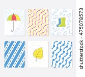 set of 6 cute creative cards... | Shutterstock .eps vector #475078573