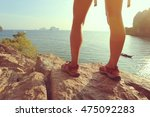 young woman hiker enjoy the... | Shutterstock . vector #475092283