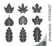 9 style shape of leaf black  ...   Shutterstock .eps vector #475123627