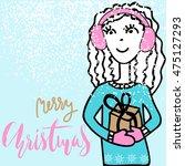 handdrawn girl holding a gift... | Shutterstock .eps vector #475127293