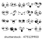 emotions. set of doodle faces.... | Shutterstock .eps vector #475129903