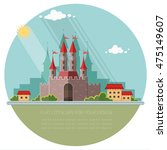 cityscape. medieval castle in... | Shutterstock .eps vector #475149607