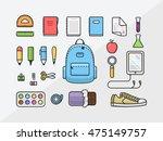 school supplies icon set  back... | Shutterstock .eps vector #475149757