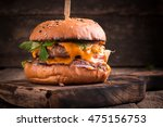 tasty grilled burger with... | Shutterstock . vector #475156753