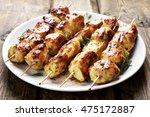 Chicken Kebab On Plate  Close...