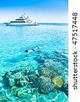 yacht  coral reef  snorkeling | Shutterstock . vector #47517448
