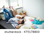 high angle of father lying... | Shutterstock . vector #475178803