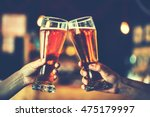 two friends toasting with... | Shutterstock . vector #475179997
