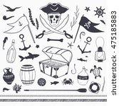 pirate set  pirate flag  skull  ... | Shutterstock .eps vector #475185883