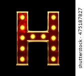 h isolated golden letter with... | Shutterstock . vector #475187827