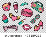 vector colorful quirky patches... | Shutterstock .eps vector #475189213