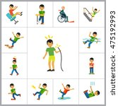 accident icon set | Shutterstock .eps vector #475192993
