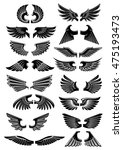 wings heraldic icons. birds and ... | Shutterstock .eps vector #475193473