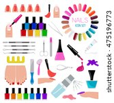 manicure  nail salon. icon set. ... | Shutterstock .eps vector #475196773
