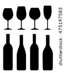 black isolated bottle and glass ...   Shutterstock .eps vector #475197583