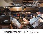 Airplane Cockpit In Flight...