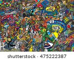 sports collage on a large brick ... | Shutterstock . vector #475222387