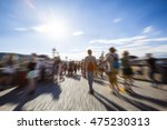 blurred people walking on sunny ... | Shutterstock . vector #475230313