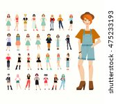 big set 30 beautiful young... | Shutterstock .eps vector #475233193