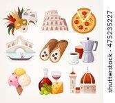set of italian travel icons....
