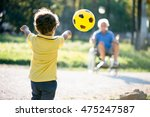 child playing with grandfather... | Shutterstock . vector #475247587
