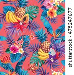 seamless pattern with tropical... | Shutterstock .eps vector #475247677